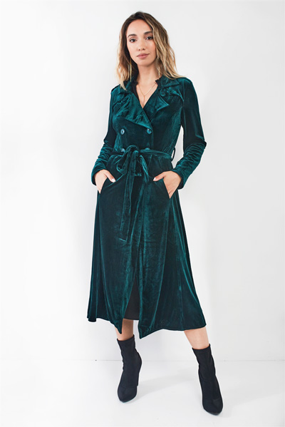Hunter Green Velvet Long Sleeve Maxi Smoking Jacket