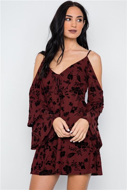 1fb530b9fc20 Wine Burnout Velvet Cold Shoulder Tiered Bell Sleeve Mini Dress  3-2-1