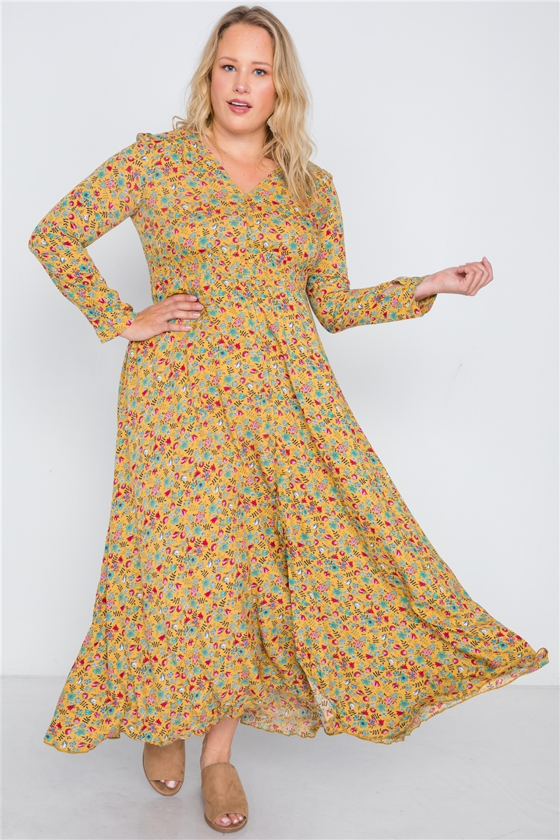Plus Size Yellow Floral Button Down Maxi Dress /3-3